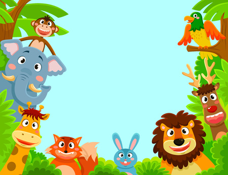 for kids: happy animals creating a framed background