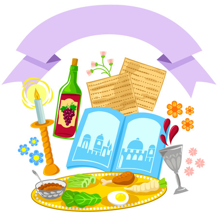 items related to Passover with a decorative blank banner Illustration