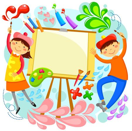bambini a dipingere intorno una tela bianca con lo spazio per il testo Vettoriali