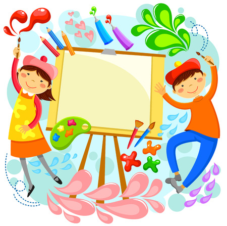 craft: children painting around a blank canvas with space for text Illustration