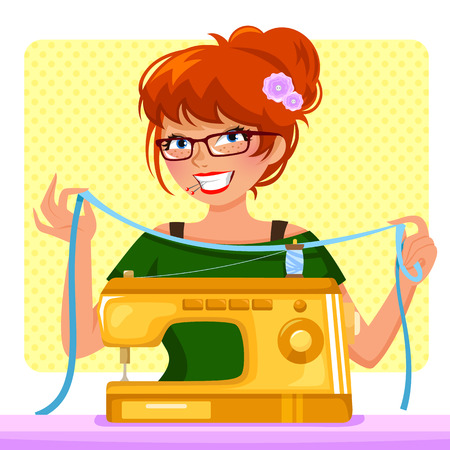 seamstress: girl with sewing machine