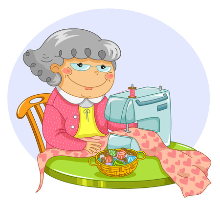 happy granny sewing with a sewing machine
