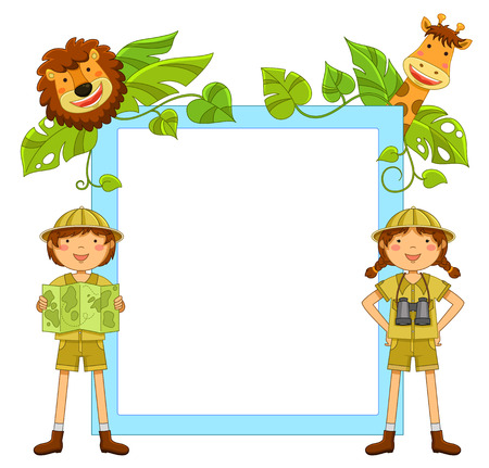 frame with kids ready to explore the jungle