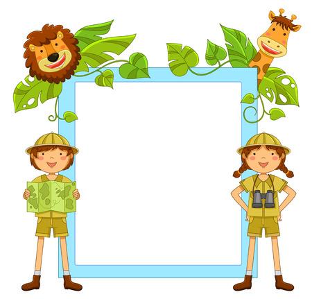 esploratori: Telaio con i bambini pronti a esplorare la giungla