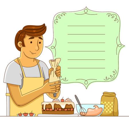 confectioner: man making a cake