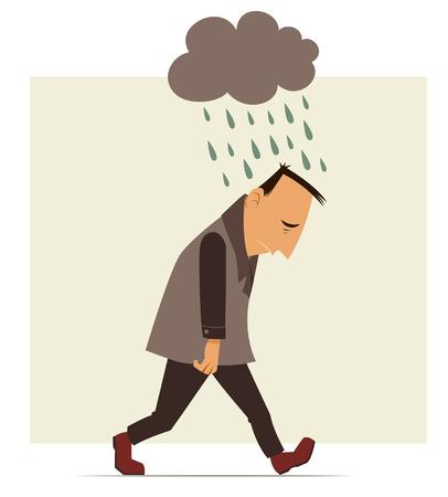 uomo depresso che cammina con una nuvola di pioggia sopra la sua testa Vettoriali