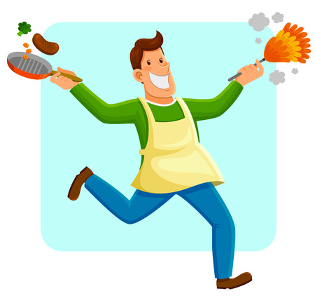 chores: happy man cleaning and cooking