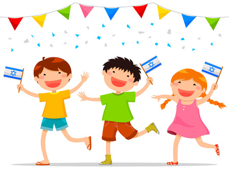 děti, drželi se izraelské vlajky slaví Israels den nezávislosti Ilustrace