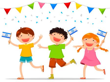 Kinder, die israelische Flaggen Israels feiert Tag der Unabhängigkeit