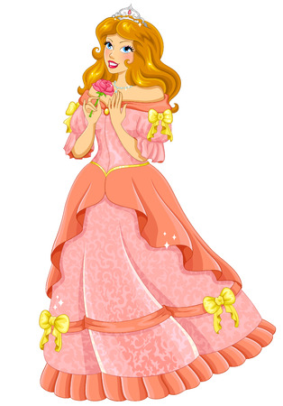 fairytale character: beautiful princess in pink dress