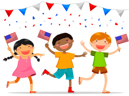 American children holding American flags Illustration