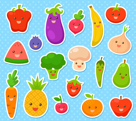 collection of cartoon fruit and vegetables  Illustration