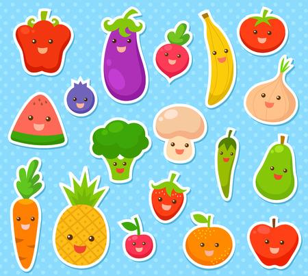 verzameling van cartoon groenten en fruit Stock Illustratie