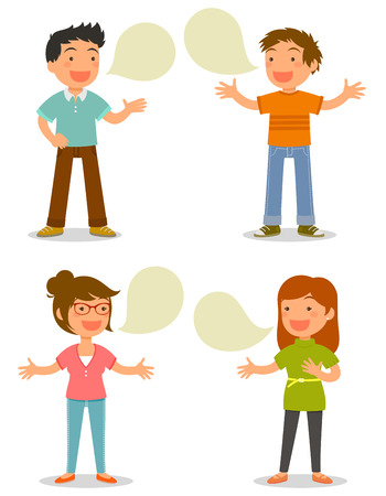 personas platicando: Los dibujos animados que hablan felizmente Vectores