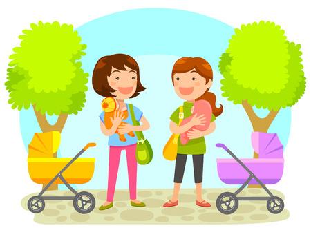amigas conversando: dos madres jóvenes con bebés en el chat en el parque