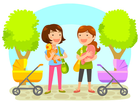 two young mothers holding babies chatting at the park Vector