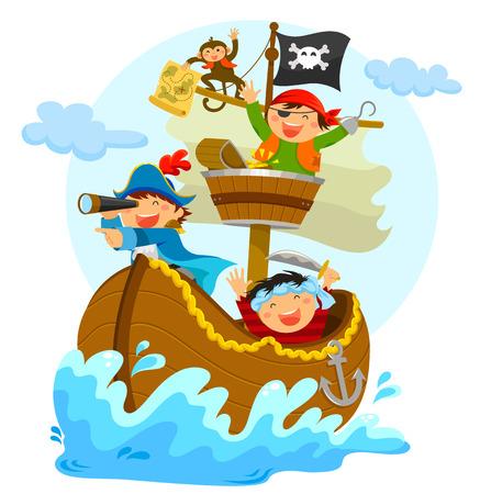 piratas felizes que navegam em seu navio