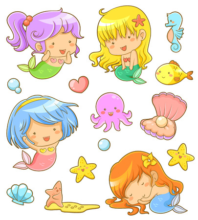 girl sleep: collection of adorable mermaids and related icons