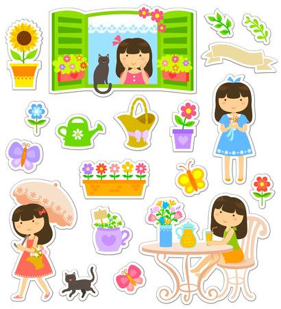 Collection d'icônes et les caractères liés au jardinage et des fleurs Banque d'images - 29462213