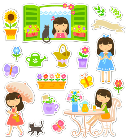 collection of icons and characters related to gardening and flowers