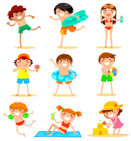 kids playing outside: collection of cartoon kids having fun at the beach Illustration
