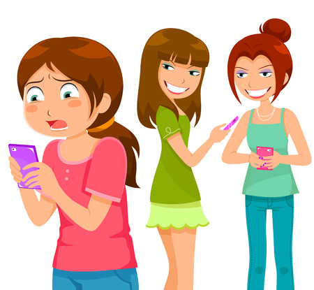 girl being bullying by her peers through mobile  phone