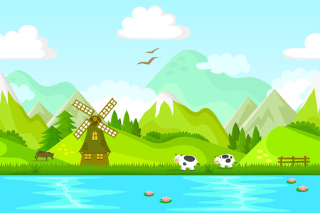 snowcapped mountain: seamless background with windmill and farm animals