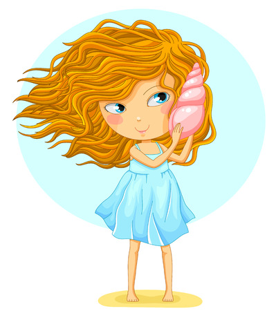 cartoon girl holding a seashell next to her ear