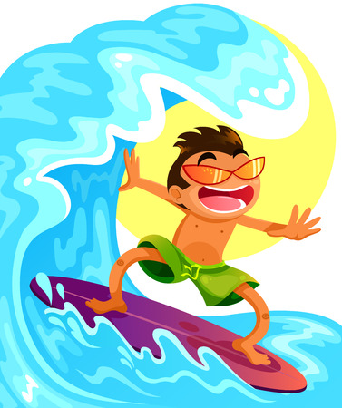 cartoon guy surfing on his surfboard Vector