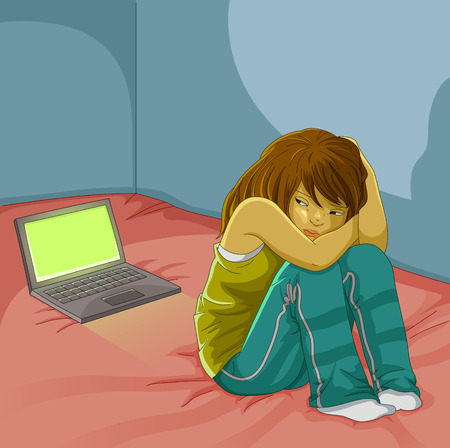 cyber: sad girl sitting alone next to her open laptop Illustration