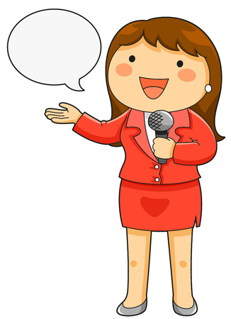 reporters: cartoon female reporter holding a microphone