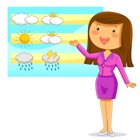 weather report: female weather reporter presenting the weather forecast