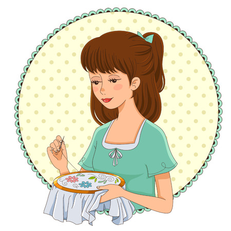 girl doing hand embroidery Vector