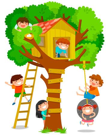 niño trepando: niños jugando en una casa del árbol Vectores