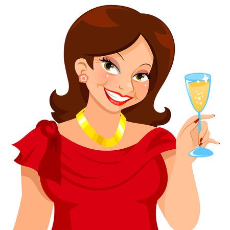 Atraktivní zralá žena, oblečená pro strany a drží sklenku šampaňského