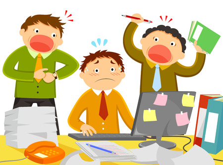 molesto: trabajador está estresado por colegas ruidosos y demasiado trabajo Vectores