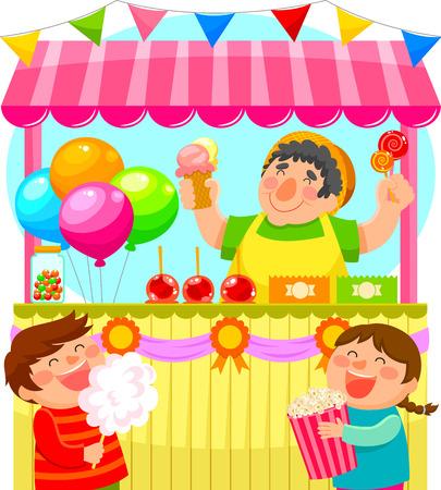 golosinas: ni�os que compran dulces en un puesto de dulces festivo