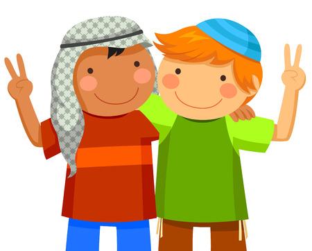 Muslim boy and Jewish boy being friends Vector