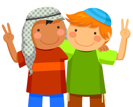niños de diferentes razas: Niño musulmán y boy siendo amigos judíos