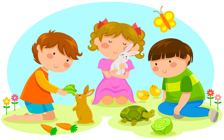 Kinder spielen mit den Tieren Standard-Bild - 30552741