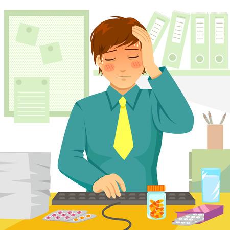 man face: jonge man ziek op het werk voelen Stock Illustratie