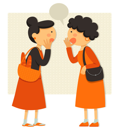 two women talking about gossip or rumors Vectores
