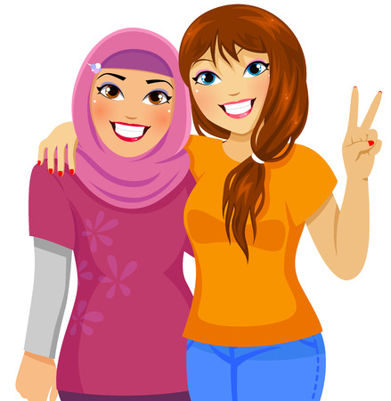 Muslim girl and Caucasian girl being friends Illustration