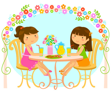 girls having juice and cookies under an arch of blooming flowers Vector
