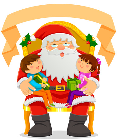 lap: Santa Clause with two kids on his lap and an empty label on top Illustration