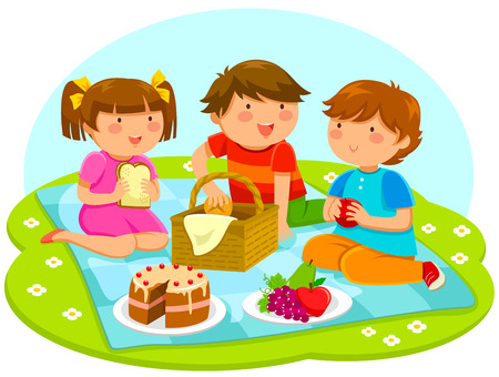 kids playing outside: three cute kids having a picnic Illustration