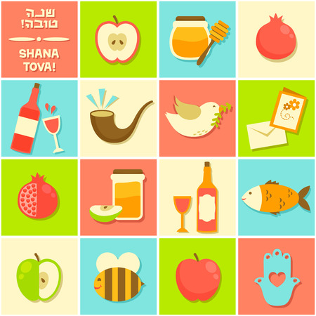 symbols of Rosh Hashanah (Jewish New year) 矢量图像