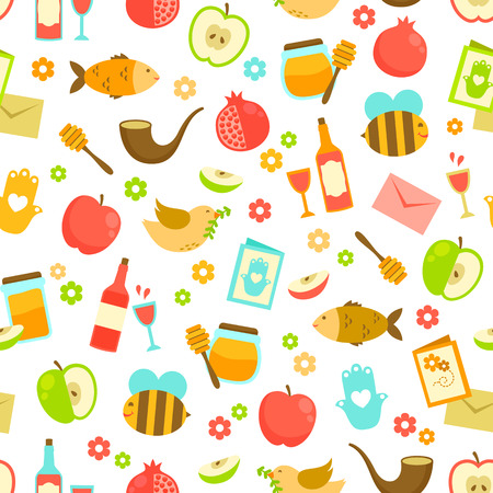 apple and honey: Colorful seamless pattern with symbols of Rosh Hashanah (Jewish New Year)
