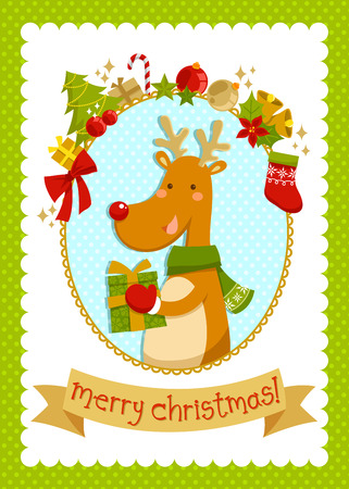 Christmas card with cartoon deer and a set of related items Vector