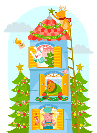 getting ready: cartoon animals in a tall house getting ready for Christmas